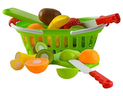 ISO TRADE Cesta de Frutas con Cierre De Velcro para Cortar Juego de Simulación Tienda Infantil, Conjunto de Juego de Niños 6076