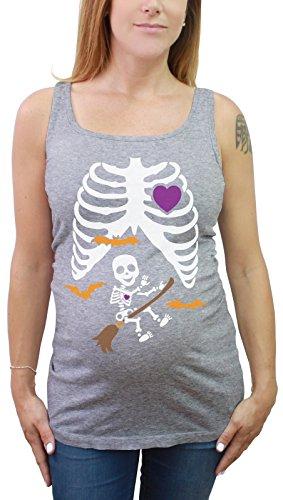 Halloween Schwanger Röntgen Besen Hexe Skelett Umstands Tunika Tank Top Small Grau (Halloween-skelett Shirt Schwangere)