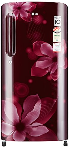 LG 190 L 4 Star Direct-Cool Single Door Refrigerator (GL-B201ASOX.ASOZEBN, Scarlet Orchid)