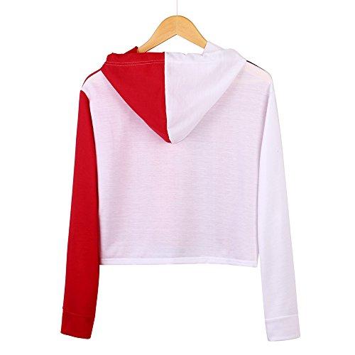 Lonshell Femmes Sweatshirt les Cultures à Capuchon au Patchwork Chemisier Pull Blanc