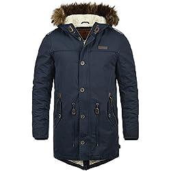 INDICODE Pulsoor Herren Parka Mantel Winter-Jacke Lang mit Fell-Kapuze und Teddy-Futter aus hochwertigem Material, Größe:L, Farbe:Navy (400)