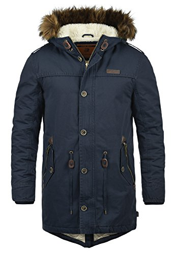 INDICODE Pulsoor Herren Parka Mantel Winter-Jacke Lang mit Fell-Kapuze und Teddy-Futter aus hochwertigem Material, Größe:3XL, Farbe:Navy (400)