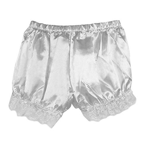Leggings Damen, Brawdress Mädchen Vintage Bloomers Locker Spitzen Sicherheit-Hosen Shorts (One Size, Weiß) -