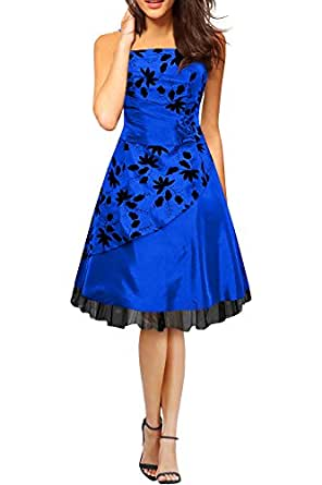 Black Butterfly 'Sia' Satin Essence Prom Dress (Blue, UK 8)