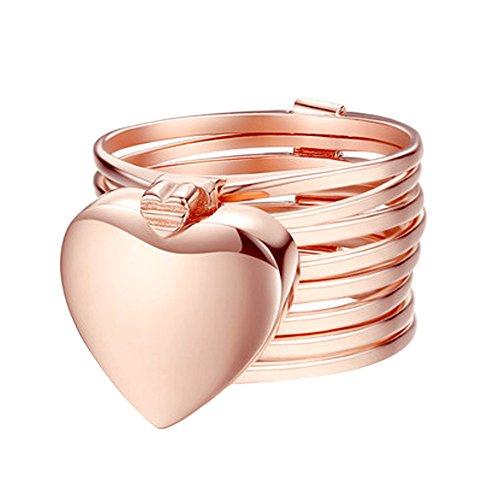 Qiuday Freundschaftsarmband, Freundschaftsarmbänder Rose Gold Silber Elegant Damen Mädchen Retractable Ring Bracelet Change Bracelet Love Heart Folding Magical Jewelry (White Gold Männer 14k Halskette Für)