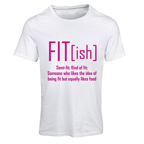 Frauen T-Shirt Fit - Ish Definition. Übung - Training - Turnhalle, sarkastische Geschenkidee, lustige Gewichtsverlust Sprüche (Medium Weiß Magenta) Finesse-snap