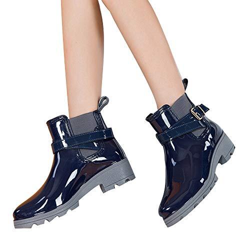 Tianwlio Frauen Herbst Winter Stiefel Schuhe Stiefeletten Boots Damen Wasserschuhe Regenstiefel Kurze Glänzende Stiefel Wasserdichte Stiefeletten Beiläufig Schuhe Blau 41