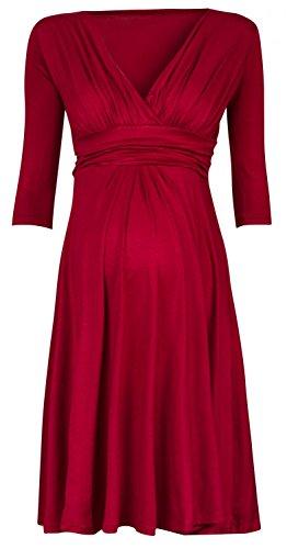 Zeta Ville - Damen Kleid Umstand Skaterkleid Schwangere - Ärmel 3/4 - 401c Purpur