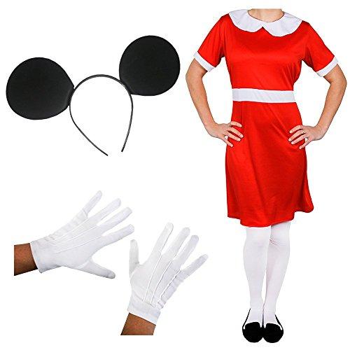 ILOVEFANCYDRESS Verkleidung BERÜHMTE Maus = Das Perfekte KOSTÜM +ZUBEHÖR FÜR Fasching+Karneval = Zeichentrick Art =Kleid in in ()