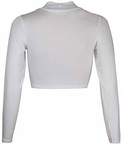 Damen Neues Polo Rollkragen Kurzes Bauchfreies Top Langarm Figurbetontes T-Shirt Oberteil Stretch Weiß