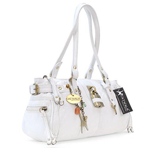 """Lederhandtasche """"Chancery"""" von Catwalk Collection - Größe: B: 34,25 H: 16 T: 9 cm Weiß"""