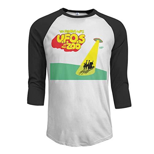 Pimkly Herren Tee T-Shirt, Men\'s The Flaming Lips UFOs at The Zoo 3/4 Sleeve Raglan Baseball Tshirts Black