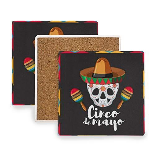 Verycoolthiskid Cinco De Mayo-Karten-Schablone mit dem Schädel, der Hut trägt Untersetzer für Getränke Untersetzer Untersetzer Untersetzer Set Cup Mat Pad 4er Set