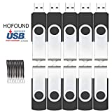 HOFOUND 32GB USB Memory Stick 10Pcs USB 2.0 Flash Drives with Lanyard - Black