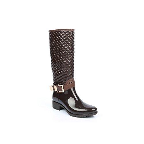 Ideal Shoes–Gummistiefel, teilweise gesteppte und mit Schnalle Maelle Braun - braun