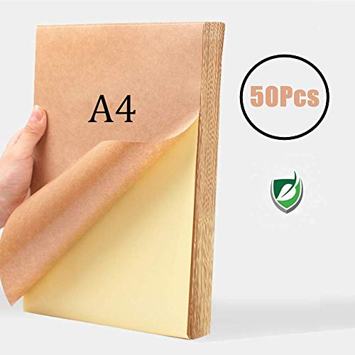 WOWOSS 50 Bögen A4 selbstklebendes Kraftpapier, matt 297 * 210 mm,für Adressetiketten und Bedrucken, Geeignet für Laser, Tintenstrahldruck, Kopiererdruck,80g Kraftpapier