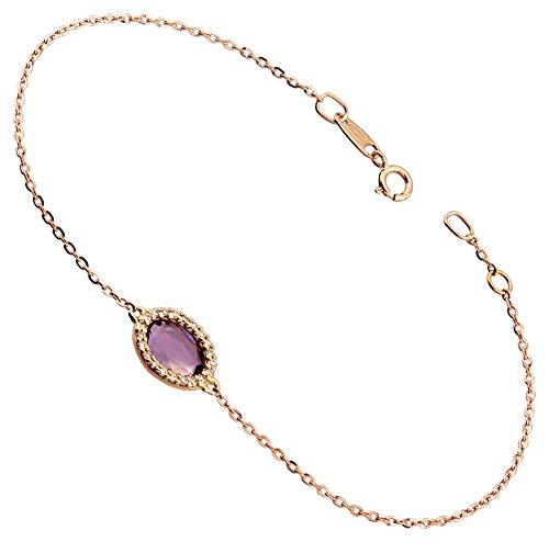Orleo - REF7378 : Bracelet Femme Or 18K rose et Améthyste et diamant