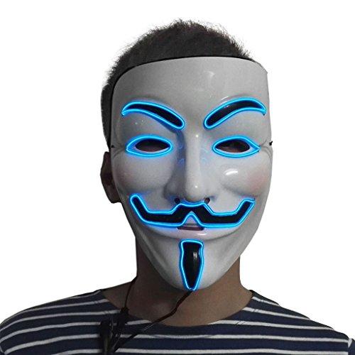 Hergon Anonymous Maske Vendetta Halloween, Halloween Masken Leuchtend, Karneval Kostüm Anonymus Maske Guy Fawkes Maske (B#)