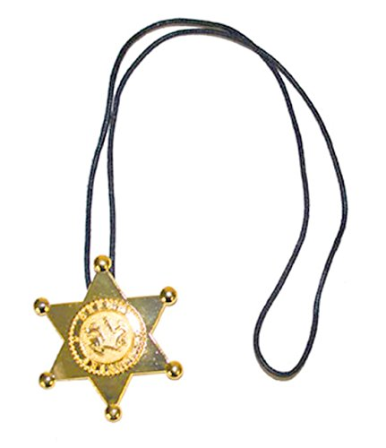 kostüm Sheriffstern Kette Halskette, 7cm Stern, Bronze (Western Perlenketten)