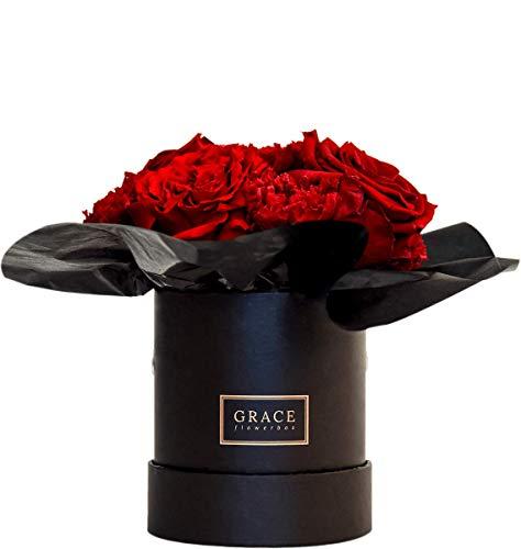GRACE Flowerbox   ATOMIC RED   Roségold Black Baby Flowerbox Bouquet   7-11 echte konservierte Rosen   1-3 Jahre haltbare Infinity Rosen   Bekannt aus