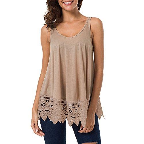 Damen Weste Womens Lace Casual ärmellose Bluse aushöhlen Patchwork Tank Top Hemd Sweatshirt Oberteil Shirts