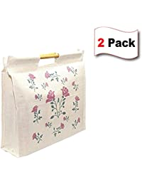 2 Pack Multipurpose Grocery Bag/Shopping Bag/hand Bag/Milk Bag With Zipper Closure And Stick Handle - (20.5 X...