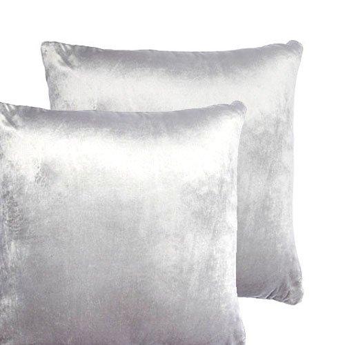 Par de fundas de cojín de terciopelo, grande, color liso, poliéster, Blanco, 50,8 x 50,8 cm (20 x 20 pulgadas)