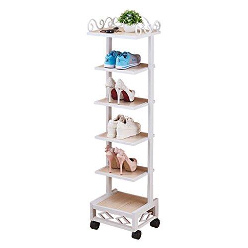 Shoe Racks Schuhklappen y-yang klein, mit Rollen, Metall, Weiß, Aufbewahrung für die Tür, enterway mit 6Tier-Form weiß (6-tier-bücherregal)