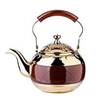YEXIN Gold Tea Pot with Infuser Loose Tea Leaf Filter 2 Liter Stainless Steel Small Kettle Strainer Set Warmer Teakettle for Stovetop Induction Stove