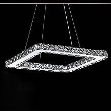 Makenier lampadario di cristallo led, moderno placcatura