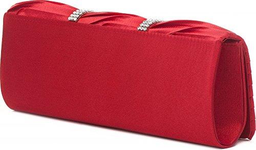 Vincent Perez, Pochette, Borse Da Sera, Tracolle, Tasche Per Avambracci, Raso, Arricciatura, Ornamento Di Strass, 24x9,5x4,5 Cm (lxhxp), Colore: Rosso Taupe