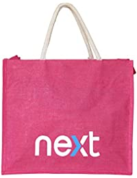 WCI Premium Luxury Heavy Duty Pink Multi Purpose Pure Jute Shopping Bag, Extra Large Size