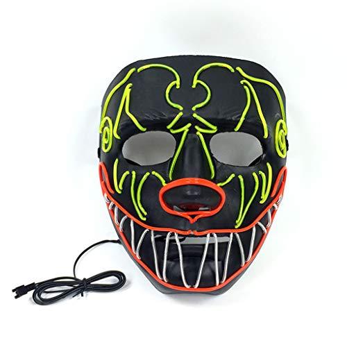 Besttse LED Halloween Kaltlicht Gruselige leuchtende Maske Street Dance Maske für Festival Cosplay Kostüm (Licht Bis Phantom Kostüm)