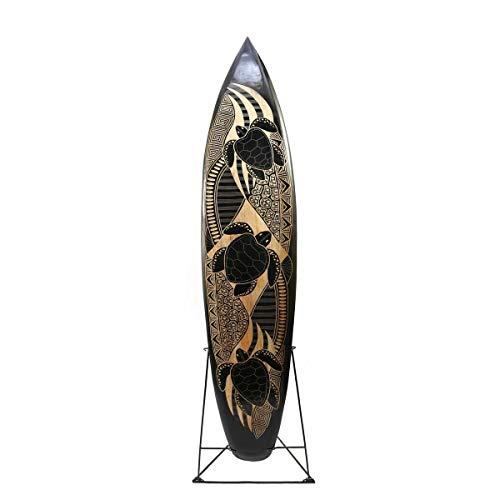 LESTARIE Deko Surfboard 150cm, Mangoholz Motiv Meeresschildkröten, Schnitzarbeit handgefertigt
