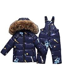 2 Piezas Traje de Nieve Niños Cuello de piel Abajo Chaqueta+ Pantalones A  Prueba de Viento y Cálido Niños Abrigos… 16451a3d19ea9