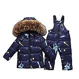 Baby Winterjacke Schneeanzug Baby Mädchen Jungen Winter Pelzkragen Kapuze Daunenjacke + Daunenhose 2tlg Verdickte Kinderskianzug/1-3Jahre