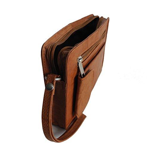Bag Street Leder - exquisite Leder Herren Handgelenktasche , Herrentasche , Handtasche , Handgepäck-Tasche ( Braun - Doppelkammer ) - präsentiert von ZMOKA® Tan Einzelkammer