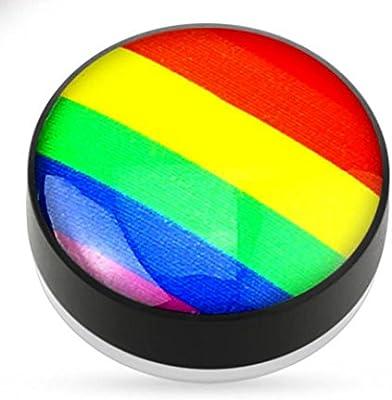 Hebilla de orejas (acero y email–ARC en Ciel Rainbow Gay–imanes para orejas no percées