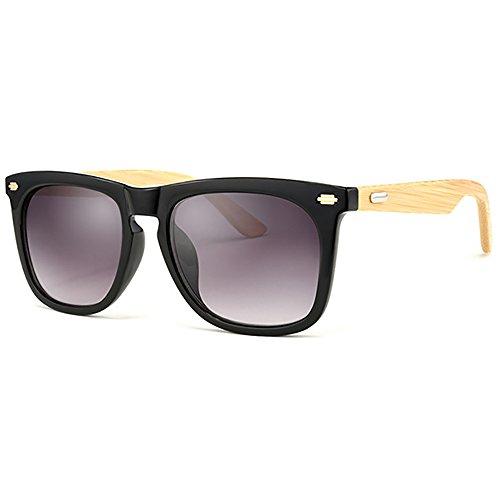 SHEEN KELLY Polarisierte Bambus Sonnenbrille Holz rahmen Damen leichte Vintage Handcraft Sonnenbrille Mens Schwarze Rahmen Spiegel Linsen