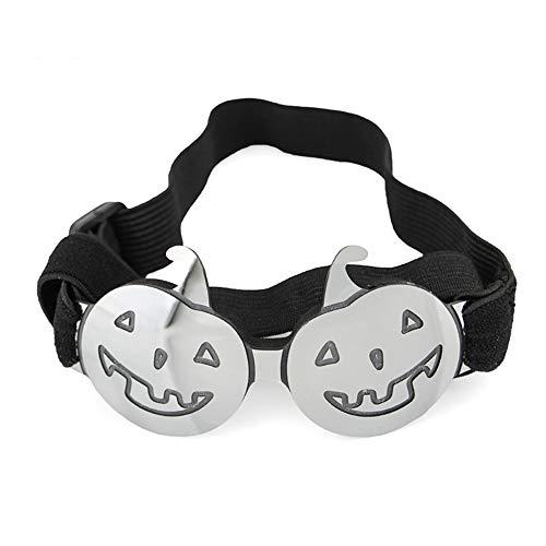 Pettneeds-Pet goggles Winddichte Schutzbrille für Haustiere Halloween-Hundebrille für UV-Schutz-Sonnenbrille Winddicht mit justierbarem Band für Welpen-Hündchen-Katze (Farbe : Silber) (Hündchen Gesichter Für Halloween)