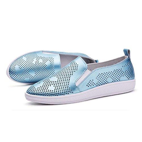Plates Cuir Baskets Chaussures Sports Bleu Loisir Casuel Femme 40 qCwvCfE