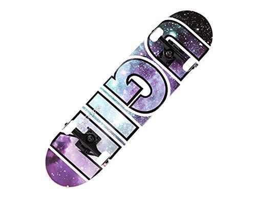 FTYUC Professionelles, doppelt verzogenes Straßenbrett mit Vier Rädern, Skateboard-Jugend, zertrümmerte Galaxie - Professionelle Räder Skateboard