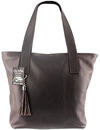 Olivia - ROME N1042 Sac à main en cuir marron / chocolat Sac etudiante