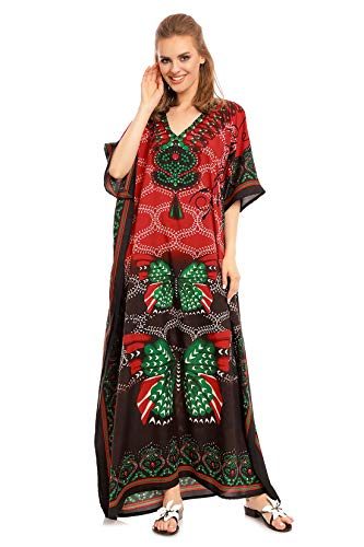 Looking Glam Neu Damen Überdimensional Maxi Kimono Kaftan Tunika Kaftan Damen Top Freie Größe ... (46-52, Rot 17001) - Kaftan Tunika Top