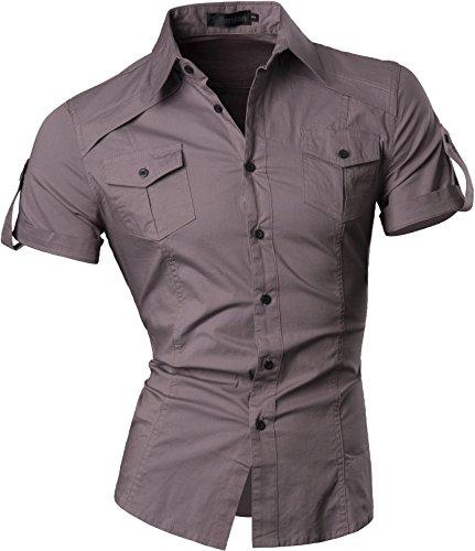jeansian Herren Freizeit Hemden Shirt Tops Mode Kurzarm Men's Casual Dress Slim Fit 8360 8360a_Gray