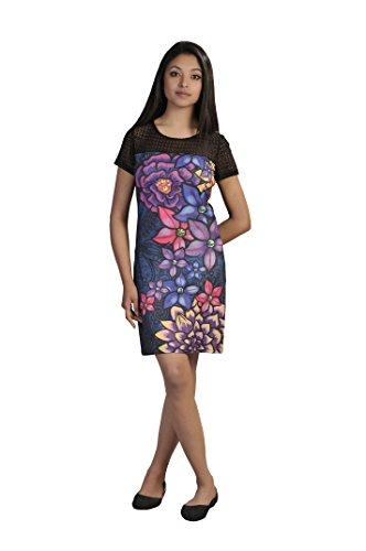 Donne del vestito manica corta stampa floreale muticolored Multicolore