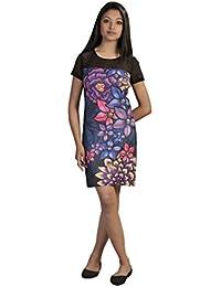 Donne del vestito manica corta stampa floreale muticolored