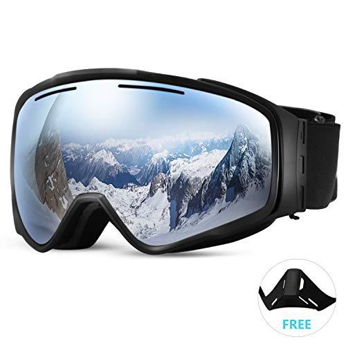 SunTime Ski Brille Ende Doppelschicht Anti-Fog Skibrille Outdoor Skibrille Zylindrische Linse abnehmbare Magnet Unsex (Silber)
