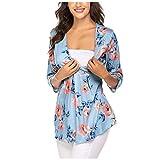 Abbigliamento Premaman, Magliette da Donna Premaman Allattamento a Pieghe Floreali a Maniche 3/4 per Allattamento al Seno-foshsh