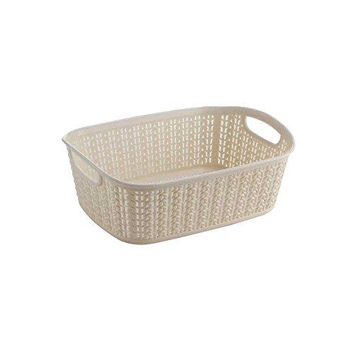All Time Cresta Knit PPHP-Plastic Rectangular Basket, 3 liters, Cream